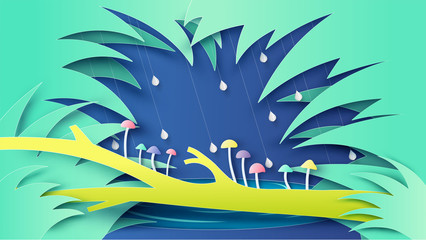 Scenery of nature in rainforest and colorful mushroom grow on the log. Graphic design for rainy season. Paper cut and craft style. vector, illustration.