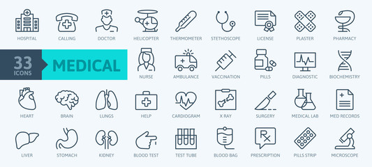 Medicine and Health symbols - minimal thin line web icon set. Outline icons collection. Simple vector illustration.