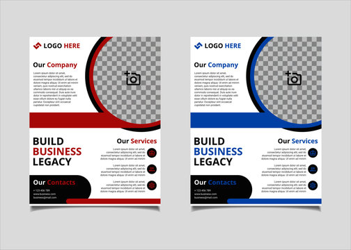Business brochure and flyer vector design template with red and blue circle colour abstract in US letter size layout suitable for business company poster, banner, and annual report