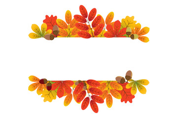 Autumn Frame. Cute leaf Perfect For Wedding Invitations And Birthday Cards Stock Image. Autumn leaves colorful on white background.