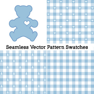 Teddy Bear with a big heart, pastel blue gingham check seamless patterns in three designs. Vector file includes pattern swatches that will seamlessly fill any shape.