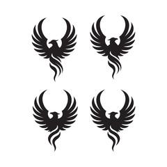 flying rise wings phoenix bird Logo design vector illustrations