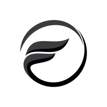 initial letter logo fO inside circle shape, of, fo, F inside o rounded lowercase black monogram