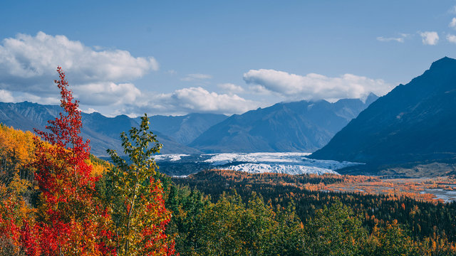 autumn in the mountains at glacier in Alaska