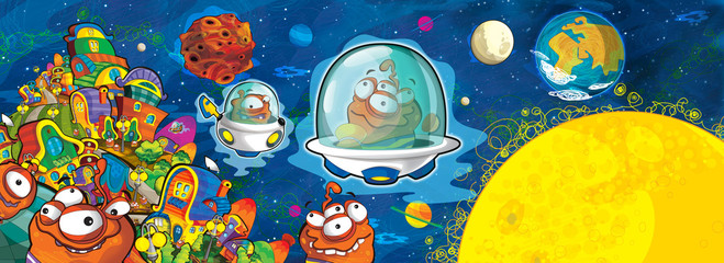 cartoon scene with some funny looking alien flying in ufo vehicle near some planet - white background - illustration for children