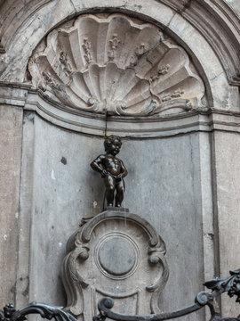 BRUSSELS, BELGIUM - MAY 9, 2017: Brussels Belgium at Manneken Pis little man pee statue