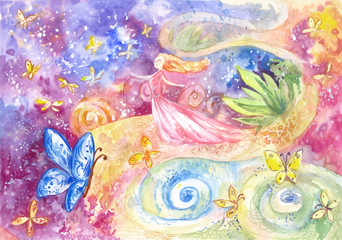 Fairy abstract poster or illustration on the theme of self-development, happiness, feminine destiny. Fantasy wallpaper or  cover with space, butterflies, young woman. Watercolor art, concept of dream