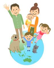 仲良しファミリー 二世代家族 地球