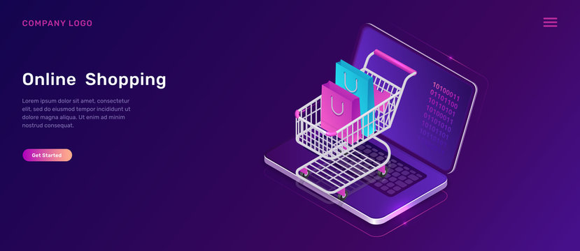 Online shopping, isometric concept vector illustration. Open laptop screen and shopping cart with bags, isolated on ultraviolet background, landing web page template