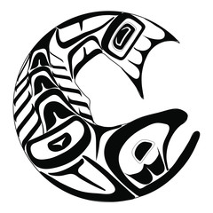 Haida salmon tattoo. Ornament in haida style. Isolated fish on white background. Black monochrome. Vector.