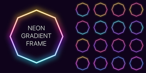Neon gradient octagon Frame with copy space. Templates set of Neon gradient octagonal Border