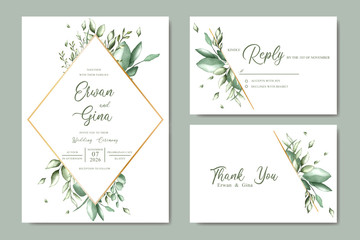 Wedding invitation card set with watercolor floral and leaves template
