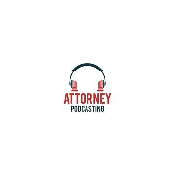 Attorney Podcast Logo Design Vector