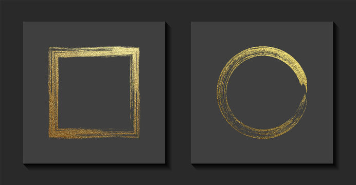 Square and round golden frames on a grey background. Luxury vintage border, Label, logo design element. Hand drawn vector Illustration. Abstract gold brush stroke