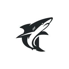 shark silhouette logo design stock vector