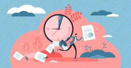 Late vector illustration. Flat tiny tight schedule delay persons concept. Fototapete