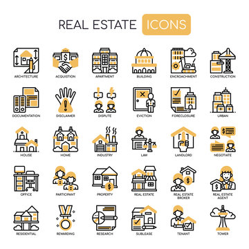 Real Estate , Thin Line and Pixel Perfect Icons