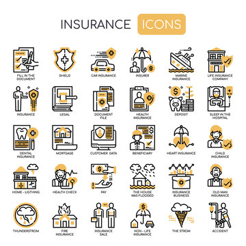 Insurance Elements , Thin Line and Pixel Perfect Icons