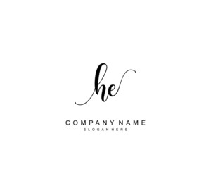 Initial HE beauty monogram and elegant logo design, handwriting logo of initial signature, wedding, fashion, floral and botanical with creative template