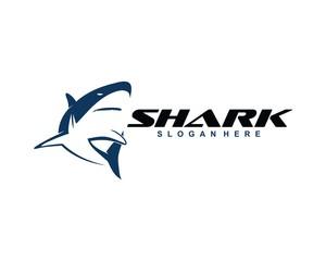 Shark logo with blue color, vector logo design template.