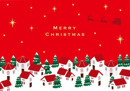 サンタクロースとクリスマスの町並み