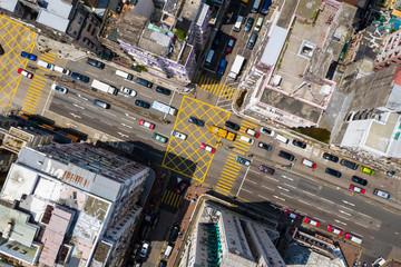 Fototapete - Top view of Hong Kong traffic road