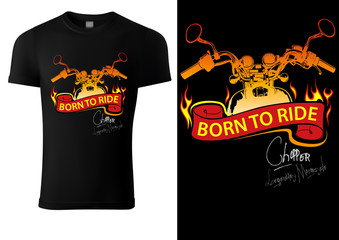 Black T-shirt Design with Motorcycle and Burning Banner - Graphic Design for Printmaking T-shirt or Poster and etc., Vector