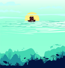 Fototapeten Reef grun Beautiful sunset with a ship Silhouette of fish and algae on a reef background. Underwater scene of the ocean. Deep blue water, coral reef and underwater plants. vector landscape with a reef. vector,
