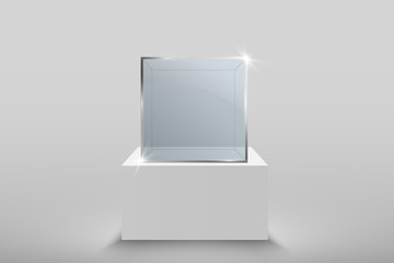 Glass showcase for the exhibition in the form of a cube. Background for sale illuminated by spotlights. Museum glass box isolated advertising or business design boutique. Exhibition hall