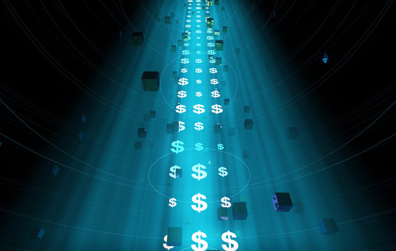 Future Digital Technology, Network Data Technology and Transmission, Financial Technology,Currency symbol, dollar