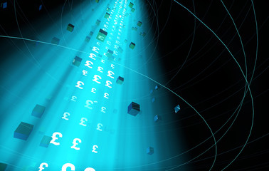 Future Digital Technology, Network Data Technology and Transmission, Financial Technology,Currency symbol, pound sterling