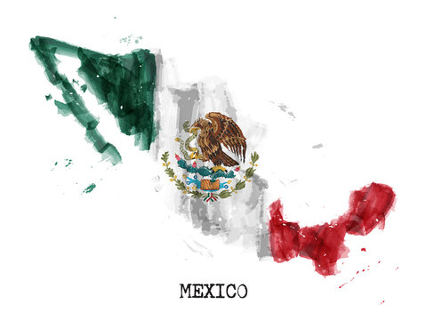 Mexico flag watercolor painting design and country map shape with splatter color . isolated background . Vector .
