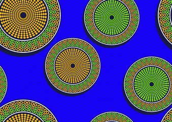 Circle african fashion seamless pattern, picture art and abstract color background, vector illustration file.