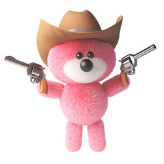 3d pink fluffy teddy bear character with soft fur wearing a cowboy stetson hat and shooting two pistols, 3d illustration