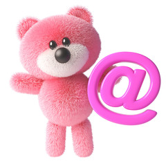 3d teddy bear character with pink fur holding a pink email address symbol, 3d illustration