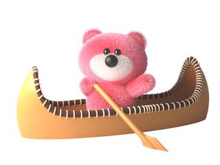 Pink teddy bear fluffy pink cartoon 3d character in a kayak canoe, 3d illustration