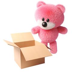 3d cartoon fluffy pink teddy bear character looking at an open empty box, 3d illustration