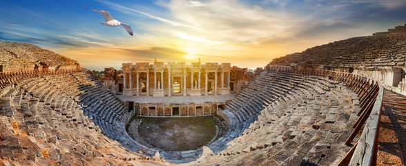 Fotobehang Oude gebouw Amphitheater in ancient city of Hierapolis and seagull above it