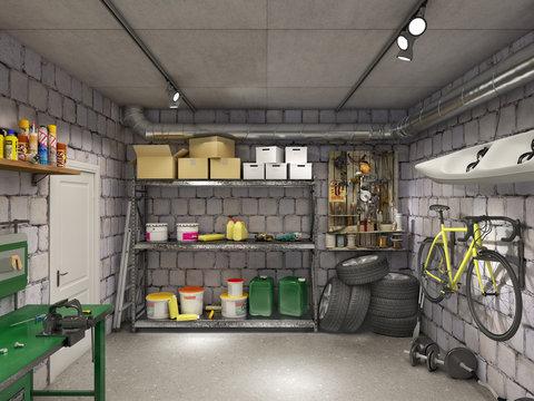 Large garage with brown marble tiles, 3d illustration