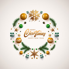 Christmas wreath design with festive Christmas decoration ornaments and objects