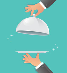 Waiter hands with silver cloche. Food serving vector illustration EPS10