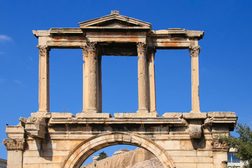 Arch of Hadrian with view to the Acropolis - Athens, Greece