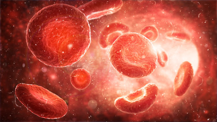 Medical human health-care. Red blood cells in an artery, flow inside body. 3d Illustration