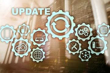 Update Software Computer on Virtual Screen Server Room Datacenter Background. Technology Updating...