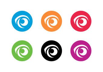 Creative vision logo set. Collection of eye ball icon design - Vector