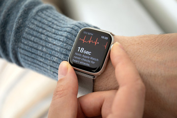 Man hand with Apple Watch Series 4 with ECG app