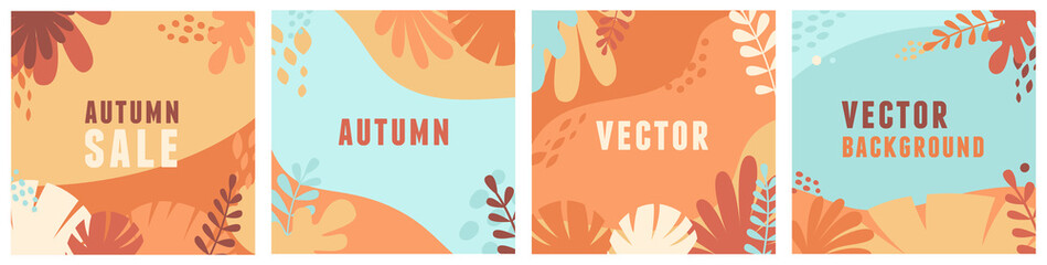 Vector set of abstract backgrounds with copy space for text - autumn sale - bright vibrant banners, posters, cover design templates