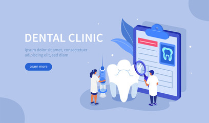 Doctor Dentist and Nurse works Together in Dental Clinic. Medical Staff  at Stomatology Center Check up Patient's Teeth. Dentistry Examination Concept. Flat Isometric Vector Illustration.