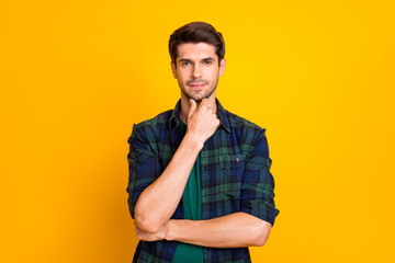 Photo of amazing macho guy thinking about important business decision wear casual plaid shirt...