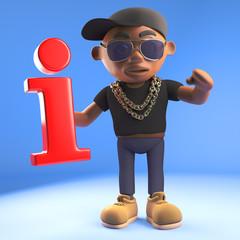 3d black hiphop rapper emcee character holding a red information symbol, 3d illustration